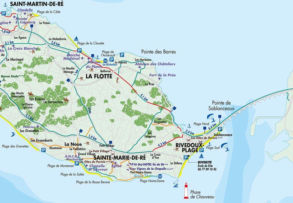 carte détaillée ile de ré Carte vélos, pistes cyclables de l'île de Ré